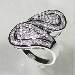 Wholesale 14k Heart Diamond - Women's 14K White Gold Filled 110pcs Simulated Diamond CZ Stone Paved Wedding Band Ring Size 6-10