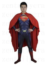 Wholesale Costumes Superman Lycra - 3D Cut Superman Bodysuits Suits Printed Spandex Lycra Zentai Cosplay Halloween Party Costume
