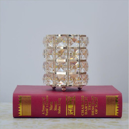 Wholesale Metal Lantern Centerpieces - New Arrival Crystal Candle Holder One Candlestick Candle Lantern Wedding Centerpieces Candelabra for Home Wedding Party Decoration