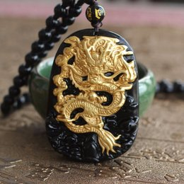 Wholesale Jade Carving Amulet - Wholesale- Wholesale Gold Natural Black Obsidian Carving Dragon Lucky Amulet Pendant For Women Men pendants Jade Jewelry