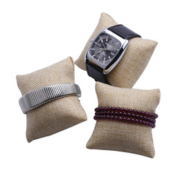 Wholesale Velvet Jewelry Display Stands - 12pcs Lot Fashion linen New Lovely Bracelet Sponge Bangle Watch Pillow Cushion For Jewelry Display Holder 80*80*50mm