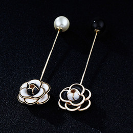 Wholesale Wholesale 24k Gold Jewelry - Wholesale- New Brand 24K GP Enamel Camellia Flower Stick Pin Brooch Lady Pearl End Lapel Pin Jewelry Accessories Gift