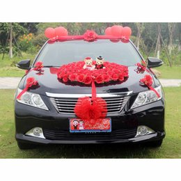 Wholesale Car Capsule - wholesale Married celebrate supplies pink red wedding car flower decoration set with plastic capsule balloons bears artificial flower