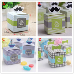 Wholesale Wholesale Mustache Candy - 50pcs set My little Man Cute Mustache Birthday Candy Box Boy Baby Shower Favor Boxes Wedding Favors Gifts Boxes