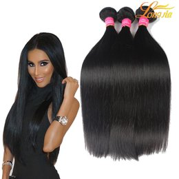 Wholesale Black Brazillian Hair - Brazilian Virgin Human Hair Weaves 100% Unprocessed Brazillian Peruvian Indian Malaysian Cambodian Straight Hair Extensions Natural Black