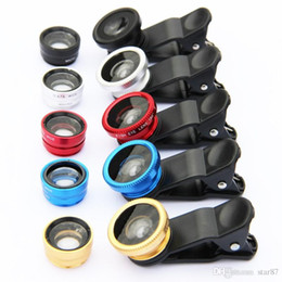 Wholesale Degree Fish Eye Lens - hot Sales Universal 3 in 1 Clip-On 180 Degree Fish Eye Lens + Wide Angle + Macro Lens For cell phones iphone samsung HTC ipad