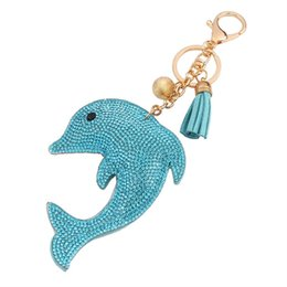 Wholesale Leather Dolphin - hot sale bag accessories charms key rings Fashion Candy color cute Dolphin metal leather tassels diamond crystal keychain