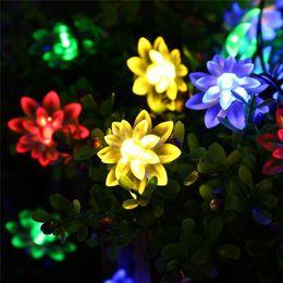 Wholesale Lotus Flowers Indoors - Edison2011 Solar LED Lamp Outdoor Waterproof 20LEDs Lotus Flower Solar Power String Lights Decoration Christmas Garden Holiday