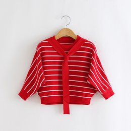 Wholesale Baby Girl Striped Sweaters - Everweekend Girls Striped Lacing Batwing Sleeve Sweater Cute Baby Red Pink and Black Color Fall Clothes