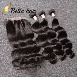 Wholesale Brazilian Human Hair Natural Wave - 7A Brazilian Hair Bundles with Closure 8-30 Double Weft Human Hair Extensions Dyeable Hair Weaves Closure Body Wave Wavy Free Shipping