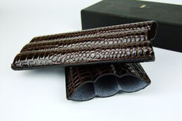 Wholesale Tube Holders - Crocodile Grain PU leather Cigar case holder smoking 3 Cigars Humidor pouch 3 tubes brown cigar tube pouch cigar Leather carrying case bag