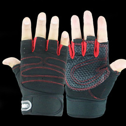 Wholesale Fingerless Baseball Glove - Fashion Gym Gloves Fingerless Men Women 2017 High Quality Gloves Fitness Work Out Palm Wrist Protection Mittens Half Finger Nov2