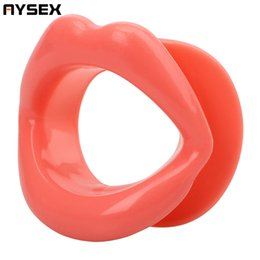 Wholesale Sex Lips - AYSEX - Sexy Lips Rubber Blowjob Gag Open Fixation Mouth Stuffed Oral Sex Gag For Women Adult Couples Games Sex Products Toys