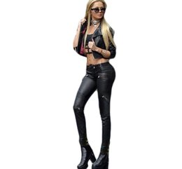 Wholesale Girl Rose Coat - Wholesale- Low rise stylish punk style black leather skinny jeans zippers detail locomotive girls plus size coated leather jeans sculpt