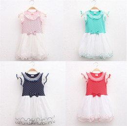 Wholesale Kids Dress Wholesale Price - Factory Price Girls Tutu Dresses Kids Cotton Printed Dot Party Clothes Hot Sale Pink Dress 2017 New Summer