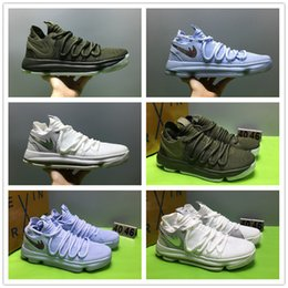 Wholesale Bouncing Cow - With Box+Super AAA+ quality KD 10 Summer Army Green Basketball Shoes for Kevin Durant KD X 10s Bounce Airs Cushion Sports Sneakers 7.5-12