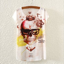 Wholesale New Tshirt For Girl - Wholesale-Novelty Skull Pattern Blusas Womens Tshirt Summer Dress 2016 Fashion Printed Top Tees New Design T Shirt For Girls T-Shirt S1729
