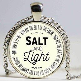 Wholesale Jesus Christ Necklace - Medium Salt and Light Pocket pendant Necklace Jesus Christ Christian Jewelry Glass Photo Necklace