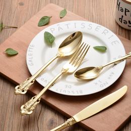 Wholesale Western Dinnerware Wholesale - Stainless Steel Cutlery Gold Plated Flatware Set Golden Table Fork Spoon Knife Dessert Spoon Western Dinnerware Tableware 24pcs