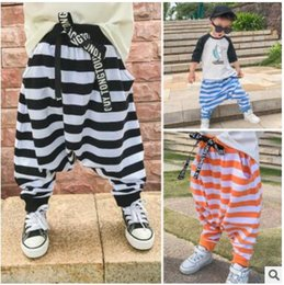 Wholesale Baggy Pant Kids - INS Baby Harem Pants Infant PP Pants Stripe Baggy Jeans Casual Trousers Newborn Elastic Pants Loose Cotton Kids Clothing Summer Wear J283