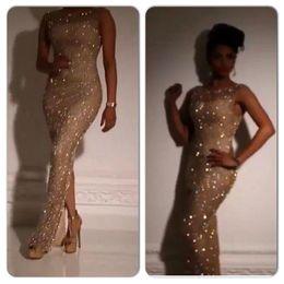 Wholesale Jewel Sleeve Rhinestone Dress - Yousef Aljasmi 2016 Gold Sequins Crystal Rhinestone Saudi Arabia Evening Dresses Split Side Dubai Prom Celebrity Dress Vestidos de Festa