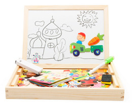 Wholesale Easels Boards For Kids - Wooden Toys Easel Kids Jungle Farm Animal Magnetic Drawing Board Puzzle Painting Blackboard Learning & Education Toys For Kids