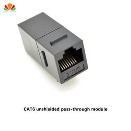 Wholesale Wholesale Network Jacks - Wholesale- CAT6 unshielded pass-through module Gold-plated UTP network module RJ45 connector Cable adapter Keystone Jack