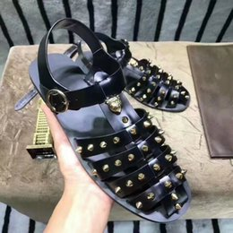 Wholesale Punk Heels - GG Mens Gladiators real leather Punk Style Cut out Rivets Studded Leather Man Sandals Summer Shoes Flat heel
