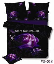 Wholesale Beautiful Design Homes - Wholesale-6 Parts per set Many New Designs Absolutely Beautiful Purple Rose and Print 3D Bedding Set very New