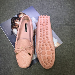 Wholesale Size Eur 42 - Brand Girls Big Size US 9 10 11 Eur 41 42 Genuine Leather Bowtie Driving Moccasin Slip On Loafer Pregnant Women Ballet Flats Casual Shoes