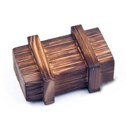 Wholesale Wooden Boxes Compartment - Wholesale- Magic Tricks Wooden Puzzle Wooden Secret Trick Box Intelligence Compartment Best Gift for Teenager Adults