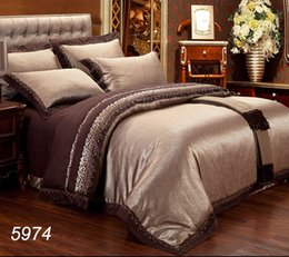 Wholesale Western Queen Bedding - Western Luxury romantic bedding set Jacquard bed linens tribute silk and cotton embroidery 4pcs 6pcs bed set hot sale 5974