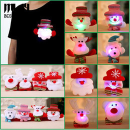 Wholesale Resin Christmas Bear - LED Christmas Brooch Pins Luminous Brooch Pin Glowing Flash Santa Snowman Bear Deer Collar Pin Badge Jewelry For Children Free DHL