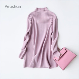 Wholesale Grey Knit Sweater - Wholesale-Yeeshan Turtleneck Cashmere Sweater Women Pink Grey Long Sweaters Female Pullovers and Sweaters Knitted Winter Sweater Brand