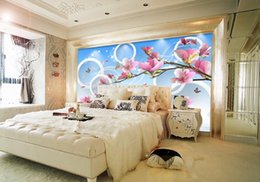 Wholesale Magnolia Wall - Wholesale-3d wall mural customized 3d photo wallpaper Circle Magnolia murals 3d stereoscopic wallpaper for living room desktop