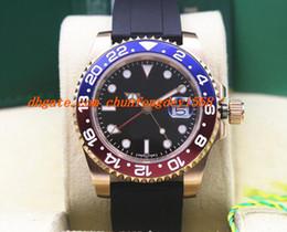 Azul de cerámica rosa online-Reloj de pulsera de lujo NUEVO 18k Rose Gold BLUE / RED II 116719 Reloj de pulsera automático de caucho para hombres Relojes de cerámica