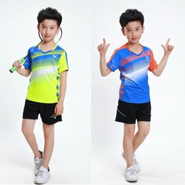Roupas de badminton on-line-VICTOR Crianças Badminton Ternos, crianças badminton ping-pang tênis roupas, Victor tênis de mesa camisas shorts, Victor Badminton Camisa VT79