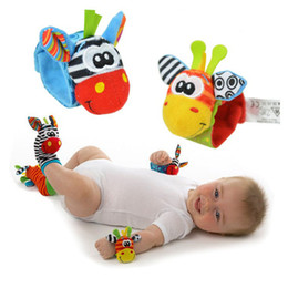 Wholesale Sock Lamaze - New Lamaze Style rattle Wrist donkey Zebra Wrist Rattle and Socks toys (1set=2 pcs wrist+2 pcs socks)