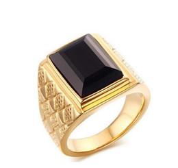 Hochwertige Schmucksachen 18MM 316L der Männer Edelstahl schwarzes Quadrat Onyx-Ring-Goldfarbe Cocktail und Ehering-Größe 8-11 von Fabrikanten