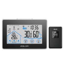 fern-portable alarm Rabatt Neue Baldr Home LCD-Wetterstation Touch-Taste In / Außentemperatur Luftfeuchtigkeit Wireless Sensor Hygrometer Clock Digital Thermometer