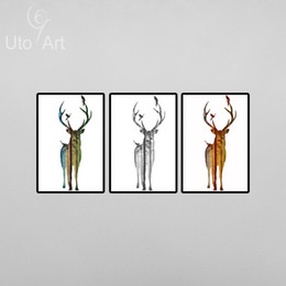 Wholesale Family Wall Picture Frames - 3 Panel Silhouette Of Deer Family With Pine Forest Canvas Modern Art Print Painting Wall Picture for Home Decoration Home Decor