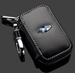 Wholesale Ford Leather - Car Key Bag Ford Logo Premium Leather Key Chains Holder Zipper Remote Wallet Bag for Ford Remote Key cover accessories