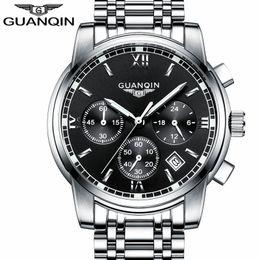 Wholesale Guanqin Watches - relogio masculino GUANQIN Fashion Business Men Luxury Brand Quartz Watch Mens Sport Watches Chronograph Luminous Wristwatch