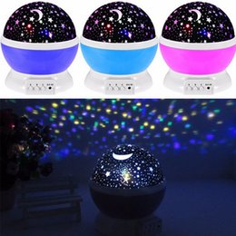 Wholesale Led Starry Sky Projection Lamp - Wholesale- Starry Projector Lamp Rotatable LED Romantic Flashing Star Moon Sky Projector Lighting for Kids Children Baby Room CX883331