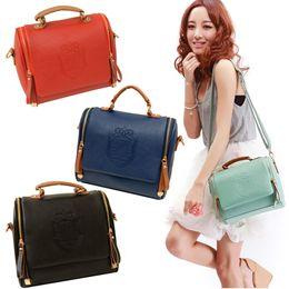Wholesale British Satchel - Wholesale-New Fashion PU leathe Stylish Women British Crown Pattern Vintage Handbag Shoulder Bag portable female bag Hot Selling