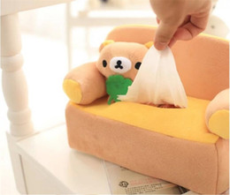 Wholesale Fabric Sofas Sets - Wholesale- 2016 Lovely bear cat Cartoon plush sofa napkin Box Tissue Box in fabric tissue Set Cover Animal