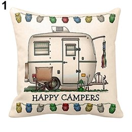 Wholesale Happy Hotels - Wholesale- Printed pillow cases home cushion Owl Square Happy Campers Throw Pillow Case Home Decorative Pattern japanese pillow cases