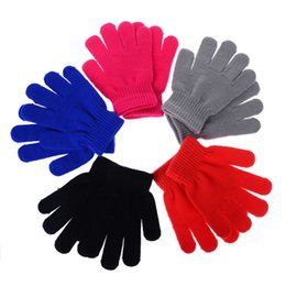 Wholesale Crochet Mitten Boys - Wholesale- 1 Pair Children Girls Boys Kids Stretchy Knitted Winter Warm Pick Colour Magic Gloves Crochet Mittens