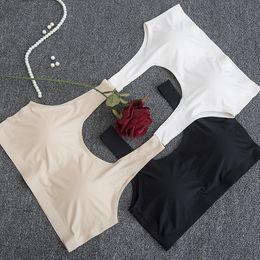 Wholesale Silk Bras Wholesale - High quality 4 size 3 colors No trace Seamless Fashion sexy yoga bra for women sport Bra women yoga bra Slimming Ice silk Underwear