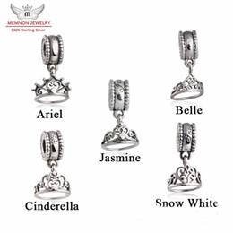 Deutschland Memnon Jewery Fit Marke Armbänder Ariel / Belle / Cinderella / Schneewittchen / Jasmine Tiara baumeln Charm Beads Authentic 925 Sterling Silber Schmuck supplier belle charms Versorgung